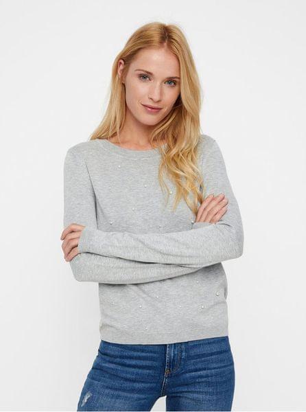 Vero Moda světle šedý lehký žíhaný svetr s korálkovou aplikací L ee77f08351