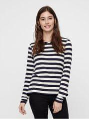 Vero Moda krémovo-modré pruhované basic tričko s dlouhým rukávem Sonia