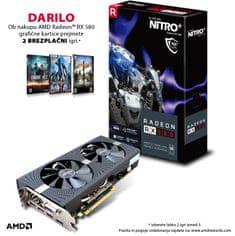 Sapphire grafična kartica RX 580 OC 4GB GDDR5 PCI-E Nitro+ lite + DARILO: 2 brezplačni igri