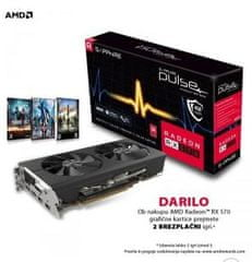 Sapphire grafična kartica PULSE Radeon RX 570 OC, 4 GB GDDR5 + DARILO: 2 brezplačni igri