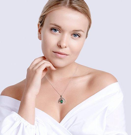 Preciosa Ezüst nyaklánc cirkóniumokkal Az élet zöld fa 5220 68 ezüst 925/1000