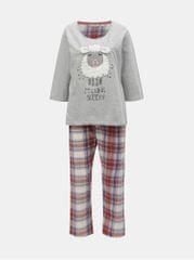 Dorothy Perkins červeno-šedé pyžamo s motivem ovce