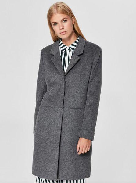 Selected Femme šedý vlněný kabát Boa L 06e34697354