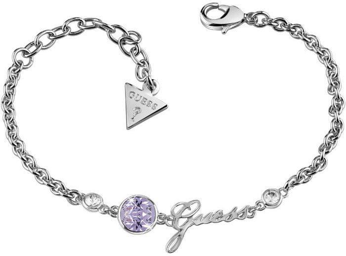Guess Fashion náramek s fialovým krystalem a nápisem UBB83026-S