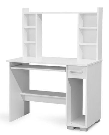 PC stůl s nástavcem DIONYS, bílá