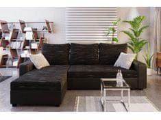 Rohová sedačka TRIPOLIS, univerzální roh, černá látka/černá ekokůže