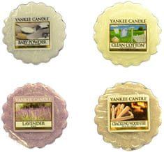 Yankee Candle Sada vonných voskov 4 ks (4 × 22 g) Baby Powder / Clean Cotton / Lavender / Crackling Wood Fire