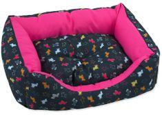 Dog Fantasy Sofa origami pes mix černo-růžová vel. XL