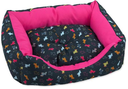 Dog Fantasy Sofa origami pes mix černo-růžová vel. XS