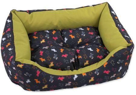 Dog Fantasy Sofa origami pes mix černo-zelená vel. XS