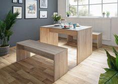 FARELA Jídelní stůl + 2 lavice Rome (sada 3 ks), dub