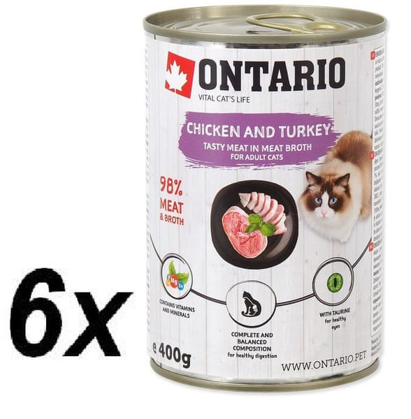Ontario konzervy Chicken, Turkey, Salmon Oil 6 x 400 g