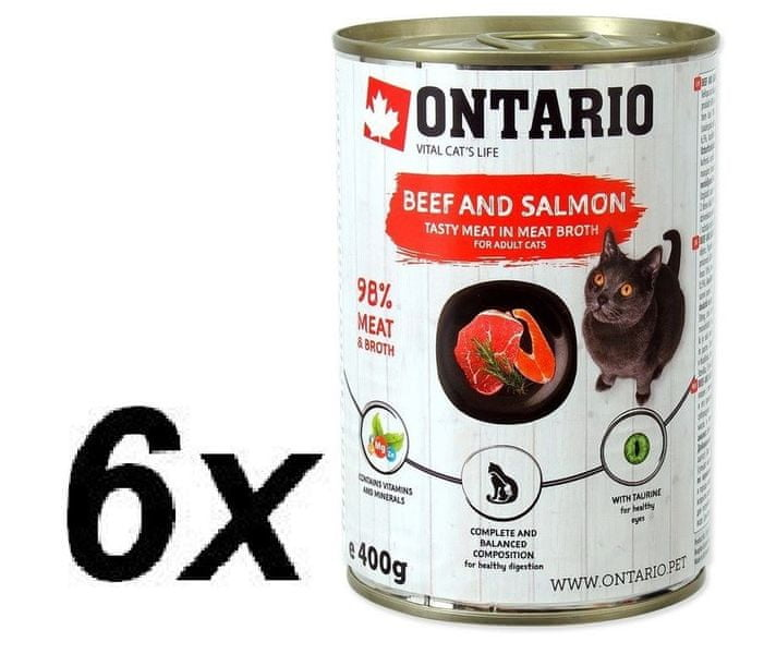 Ontario konzervy Beef, Salmon, Sunflower Oil 6 x 400 g