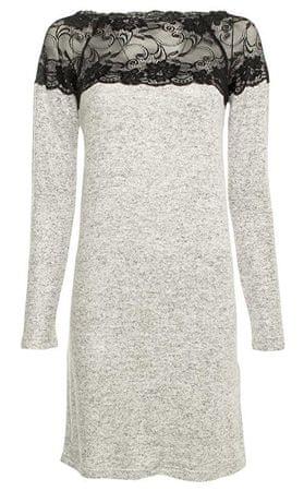 Vero Moda Női ruha Cima Lace Ls világosító ruha Light Grey Melange W. Black Lace (méret XS)