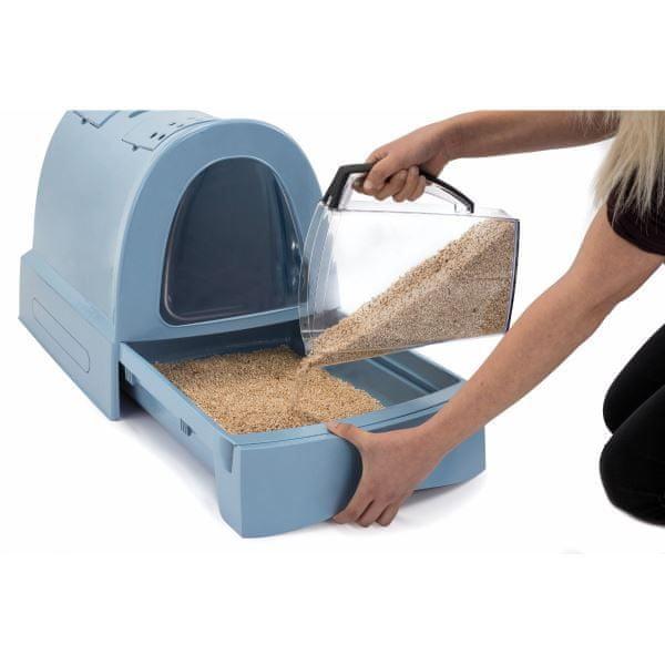 IMAC Krytý kočičí záchod s výsuvnou zásuvkou pro stelivo modrá