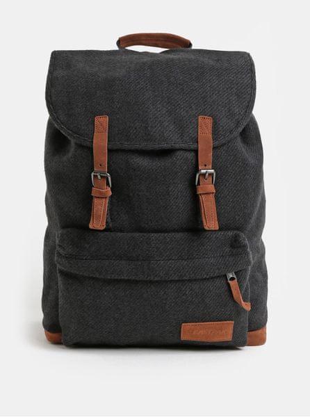 Eastpak tmavě šedý batoh se semišovými detaily Fleather 21 l 47e32b3a75