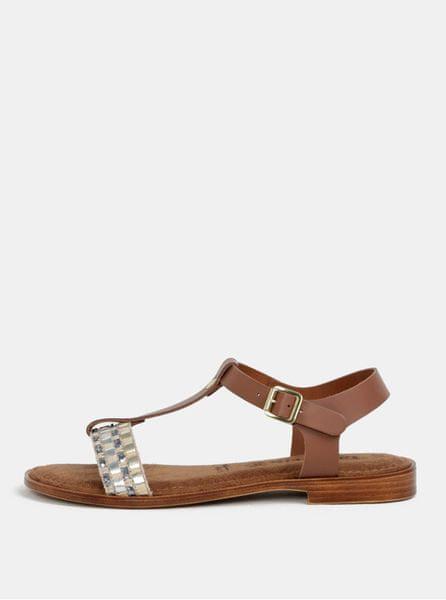 7128136a709 Tamaris hnědo-krémové kožené sandály 37