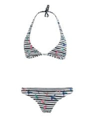 O'Neill černo-bílé dvoudílné pruhované plavky s potiskem