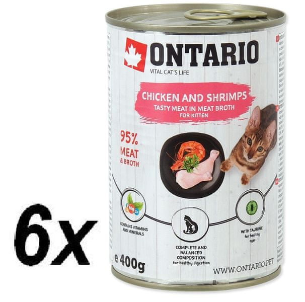 Ontario konzervy Kitten Chicken, Shrimp, Rice, Salmon Oil 6× 400 g