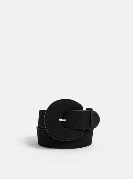 Pieces černý pásek s výraznou přezkou Twila 70