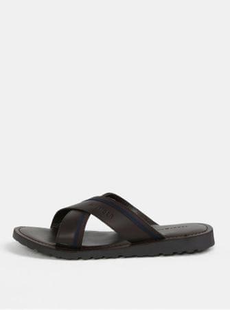 Tommy Hilfiger tmavě hnědé pánské kožené pantofle 45  c710375d5d