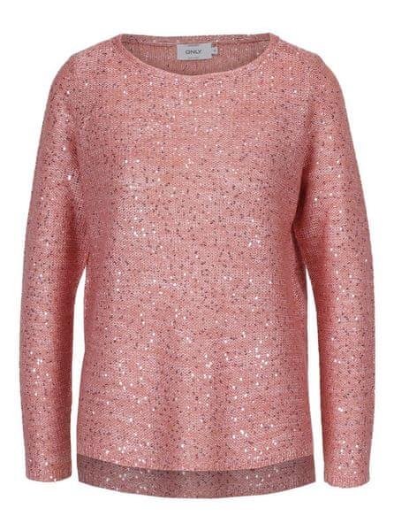 77d4174f1ff ONLY růžový pletený svetr s flitry Adele M
