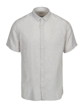ONLY&SONS světle šedá lněná slim košile s krátkým rukávem Caiden M