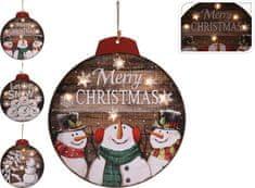 Koopman Vánoční svítící obraz Ø 29 cm sněhuláci, 6 x LED