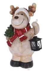 Koopman Keramický vánoční sob se svítilnou 48 cm