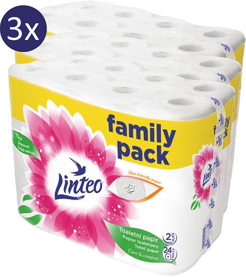LINTEO Toaletní papír bílý 3 x 24 rolí 2-vrstvý