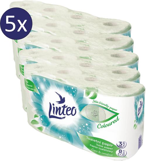 LINTEO Toaletní papír zelený 5 x 8 rolí 3-vrstvý