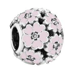 Pandora Stříbrný korálek s růžovými květy 791488EN68 stříbro 925/1000