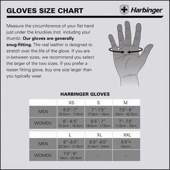 Harbinger Fitness rukavice 155 POWER bez omotávky