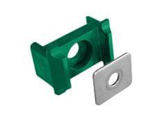 Příchytka PVC pro panely osazení, kovový přítlak, 60×40mm, zelená