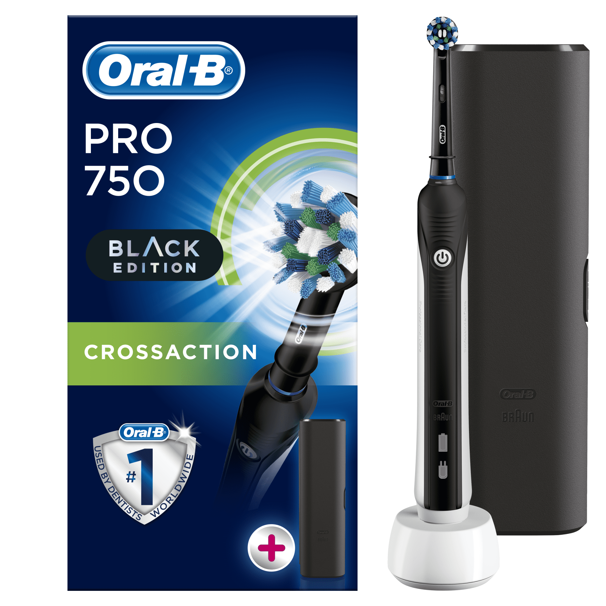 Oral-B Pro 750 Cross Action Black Edition + Travel Case 100% zaznavanje položaja