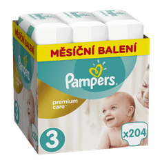 Pampers plenice Premium Care 3 Midi, 204 kosi