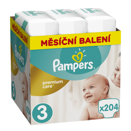 Pampers Pleny Premium Care 3 (Midi) - 5-9 kg, 204 ks