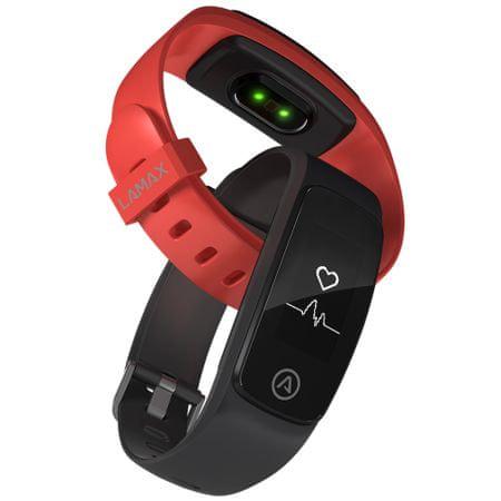 LAMAX BFit PRO - voděodolný fitness náramek - černý + červený pásek