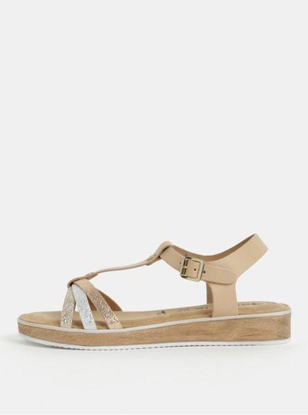 Tamaris béžové kožené sandály s pásky ve stříbrné a zlaté barvě 40 dd4197f66d