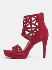 Tamaris tmavě růžové semišové sandálky na vysokém podpatku
