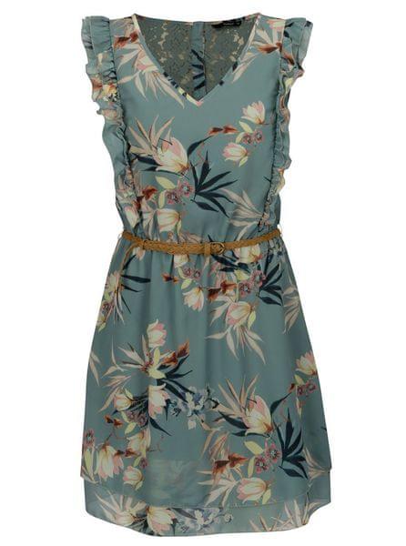 ONLY zelené květované šaty s krajkou na zádech a volánky Libby L