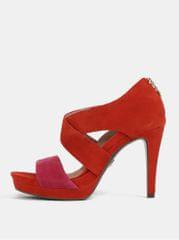 Tamaris červené semišové sandálky