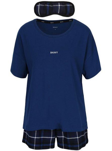 DKNY tmavě modré dvoudílné pyžamo a maska na spaní M