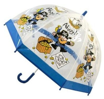 Blooming Brollies Dětský průhledný holový deštník Bugzz Kids Stuff Pirate BUPIR