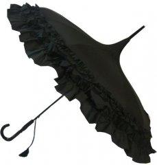 Blooming Brollies Dámský deštník Black Classic Frilled Pagoda BCSPABL