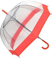 Blooming Brollies Dámský průhledný holový deštník Clear Dome Red EDSCDR