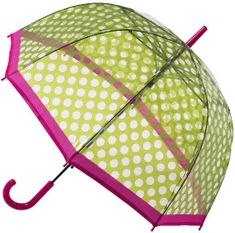 Blooming Brollies Dámsky dáždnik Clear Dome Stick Umbrella with Green polka dots POESGP