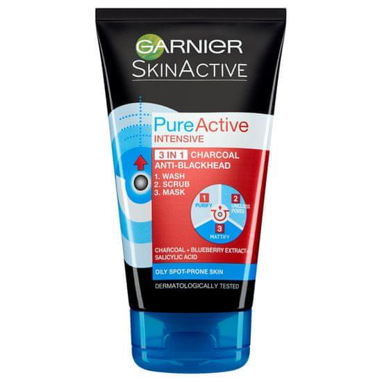 Garnier maska za čiščenje obraza Skin Naturals Pure Active 3v1 proti ogrcem, 150ml