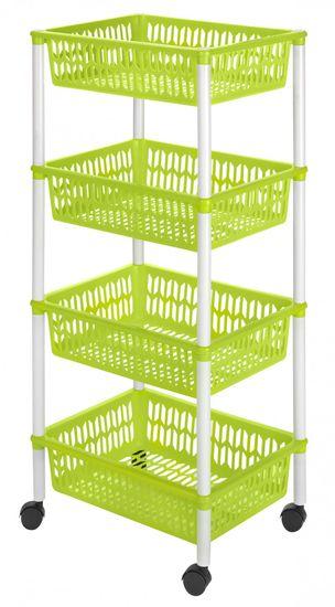 Heidrun pokretni stalak s kotačima, s četiri košare