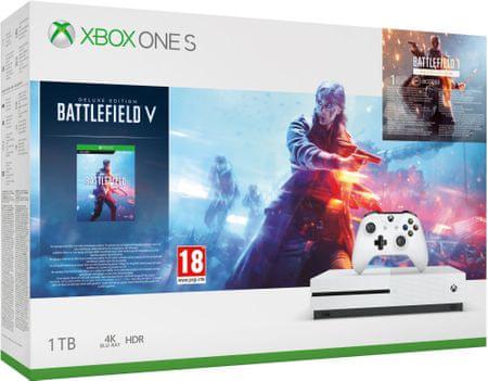 Microsoft konsola do gier Xbox One S 1TB + Battlefield V Deluxe Edition